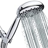 High-Pressure Handheld Shower Head 6-Setting - 5-inch Handheld Rain Shower head with Hose - Powerful Shower Spray Even with Low Water Pressure in Supply Pipeline