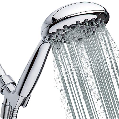 High-Pressure Handheld Shower Head 6-Setting - 5-inch Hand Held Shower Head with 59 Inch Hose - Powerful Shower Spray Even with Low Water Pressure in Supply Pipeline