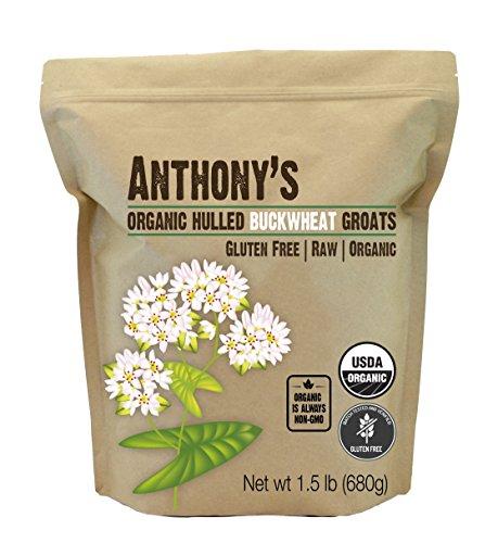 Anthony's Organic Hulled Buckwheat Groats, 1.5lbs, Raw, Grown in USA, Gluten Free