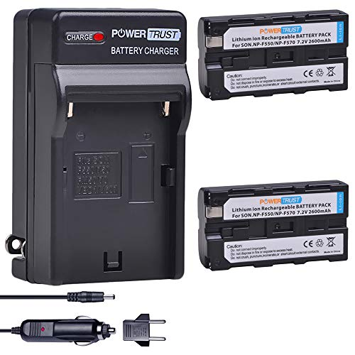 PowerTrust 2-Pack NP-F550 / NP-F570 Battery and Fast Charger for Sony NP-F330 NP-F530 NP-F570 NP-F730 NP-F750 Hi-8 GV-D200 D800 TRV81 CCD-SC55 CCD-TRV81 MVC-FD81 Batteries