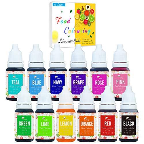 Lebensmittelfarbe - 12 Farben x 10ml Flüssige Lebensmittel Farben zum Kuchen Backen, Kekse, Fondantieren, Macaron - Lebendiger Lebensmittelfarbstoff für Dekorieren und Kochen, Airbrush, DIY Slime
