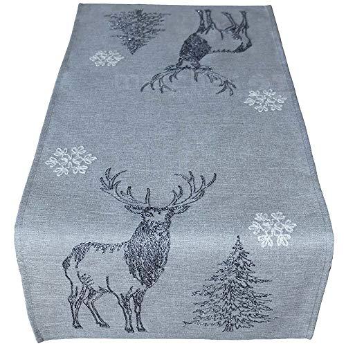 matches21 HOME & HOBBY tafel linnen tafel loper midden deken Kerstmis licht grijs herten & sneeuwvlok stok wit/grijs 40x85 cm