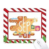 9月の月の光の季節のイラスト ゴムクリスマスキャンディマウスパッド