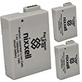 (3 Pack) Ultra High Capacity Original Nixxell Battery for Canon LP-E8 LC-E8 LPE8 for Canon EOS 550D, EOS 600D, EOS 700D, EOS Rebel T2i, EOS Rebel T3i, EOS Rebel T4i, EOS Rebel T5i & Many More!