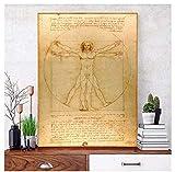 Cartel del hombre de Vitruvio Leonardo da Vinci famosa relación de figura pintura lienzo pintura decoración de la pared -50x75cm sin marco