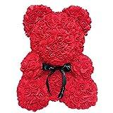 CerisiaAnn Oso romántico de rosas artificiales, regalo para San Valentín, cumpleaños, bodas y aniversarios, color rojo vino