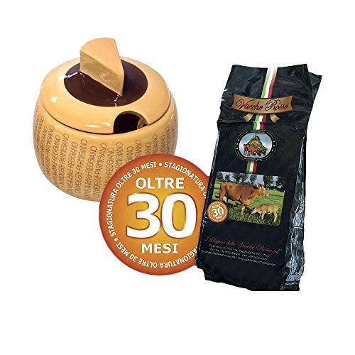 I Sapori delle Vacche Rosse - Vacche Rosse Käse 30 Monate 1 Kg + Käsebehälter aus Keramik