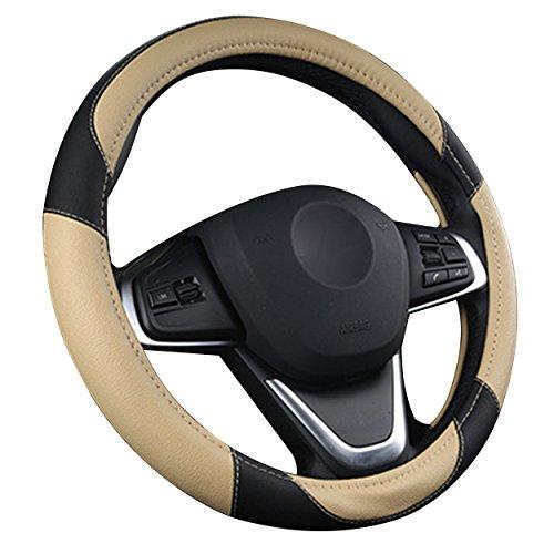 XuanMax Sport Funda para Volante de Coche Cuero Microfibra Universal 38cm Respirable Cubierta del Volante 15 Inch Antideslizante Cubre Volante Piel - Beige