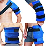 WORLD-BIO Large Gel Ice Pack & Wrap for Injuries, Hot & Cold Therapy Relief for Hip Surgery, Back Pain, Shoulder Aches, Elbow Bruised, Knee Replacement - 11' x 14' Blue