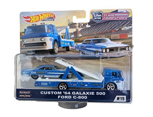 Hot Wheels FLF56-15 kompatibel mit Custom '64 Galaxie 500 Ford C-800 blau/Weiss - Team Transport Maßstab 1:64