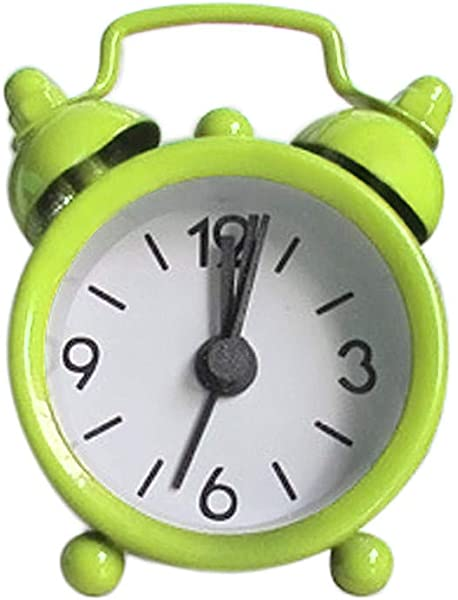 Alarm Clock SIN MON Super Silent Non Ticking Bedside Desk Analog Travel Clocks Desk Alarm Clock Creative Cute Mini Metal Small Alarm Clock Electronic For Kids Girl Boy Bedroom Green