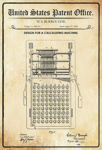 FS Patent Ontwerp rekenmachine-Burroughs metalen bord gebogen metalen teken 20 x 30 cm