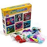 kreative kids 6-in-1 Kreuzstich-Set für Kinder, 6 Verschiedene Stickbretter mit 36 farbigen Fäden im Lieferumfang enthalten, Kinder-Stickset