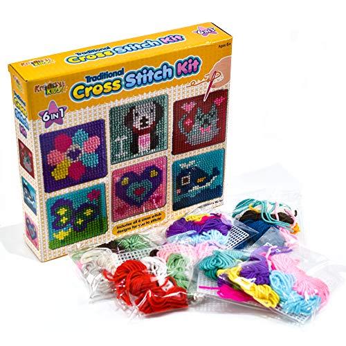 Kreative Kids, Inc Kit per Punto Croce per Bambini 6 in 1 | 6 Tavole da Ricamo assortite con 36 Fili Colorati Inclusi | Kit per Ricamo per Bambini