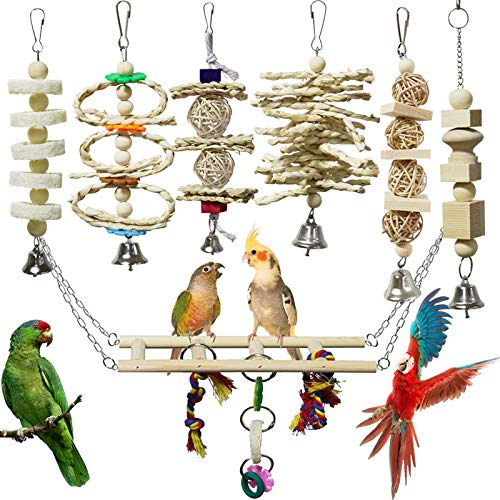 onebarleycorn – 7 Stück Vogel Papagei Glöckchen Swing Spielzeug, Vogelspielzeug Kauspielzeug aus Naturholz Hängematte für Kakadus, Sittiche, Käfigspielzeug, Nymphensittiche, Conures, Love Birds