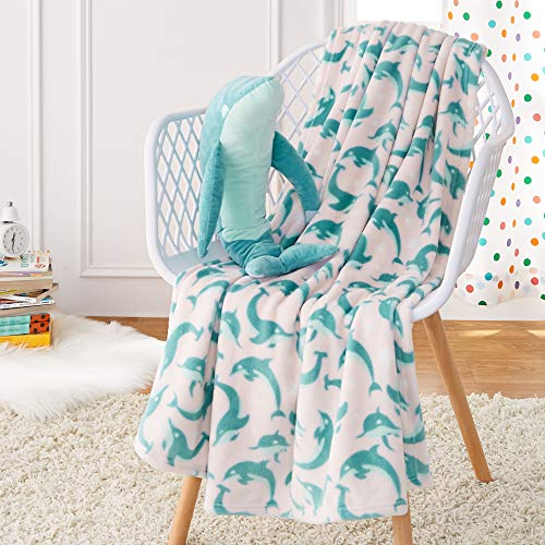 AmazonBasics Kids Jumping Dolphins Patterned Throw Blanket with Stuffed Animal Dolphin