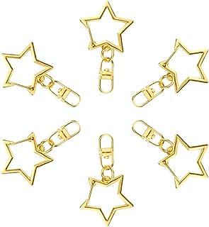 ccHuDE 20 Pcs Star Shape Metal Swivel Lobster Clasp Snap Hook Keychain Landyard Clips Jewelry Findings Gold