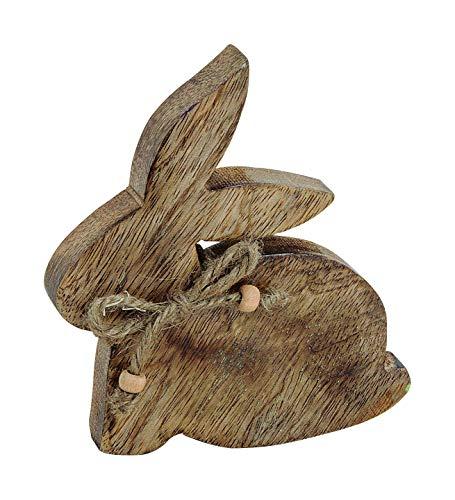 Deko Figur Osterhase aus Mangoholz Braun ca.(B/H/T) 14x14x2cm Ostern Tisch - Deko