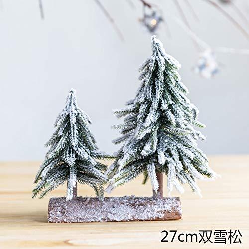 JWDLH Sneeuwspray bevlokking cederhout mini kerstboom teller raam kantoor decoratie ornamenten E1