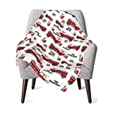 Fire Truck Baby Blanket for Girls Boys Soft Warm Receiving Throw Blankets
