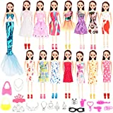 HOWAF 61pcs Doll Dresses Set - Doll Shoes Clothes Skirts Bag Jewelry Dolls Dresses Accessories for Girls Christmas Birthday Party Gifts, Doll Shoes and Clothes Accessories for 11 Inch Dolls