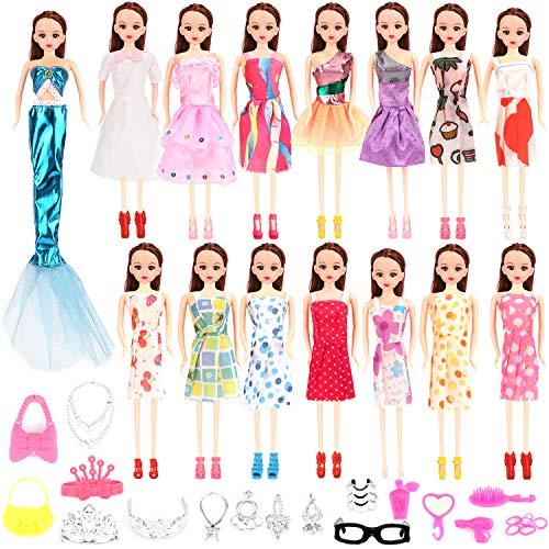 HOWAF 61pcs Puppen Kleid Zubehör - Modepuppen Schuhe Kleider Röcke Tasche Schmuck Puppen Accessories für Mädchen Weihnachten Geburtstag Geschenke, Kleidung Kleid Dress für 11 Zoll Puppen
