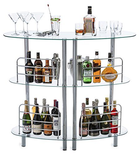 Mango Steam Contemporary Modern Home Entertainment Liquor Bar Catalina Table Tempered Glass