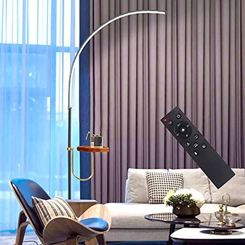 LED de Arco de la Lámpara de Morden,Sala de Estar Lámpara de Pie con Regulable y Estantería,Luz Cómoda y Diseño Humanizado,Control Remoto Luz del Piso per el Dormitorio,Dormitorio,Walnut color