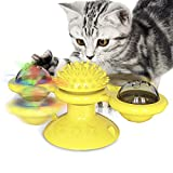 猫のおもちゃターンテーブル、インタラクティブな風車の猫のおもちゃLedボール、キャットニップボール、吸引カップ、くすぐったい猫ヘアブラシ面白い猫のおもちゃからかうペットのおもちゃ (黄)