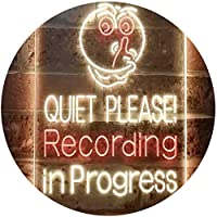 Quiet Please Recording In Progress Studio Dual Color LED看板 ネオンプレート サイン 標識 赤色 + 黄色 210 x 300mm st6s23-i3580-ry