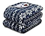Biddeford Blankets Micro Plush Electric Heated Blanket with Digital Controller, Navy Fair Isle