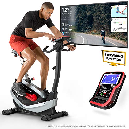 Sportstech ESX550 Premium Design 2020 Ergometer |Deutsche Qualitätsmarke | Video Events & Multiplayer APP | Magnetbremse + 21kg Schwungmasse Pulsgurt Ready| Fitness-Bike | Heimtrainer extra leise
