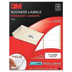 cheap 3M Permanent Adhesive Address Label, 1 qm x 2 5/8 , White, Laser, 3000 / pc