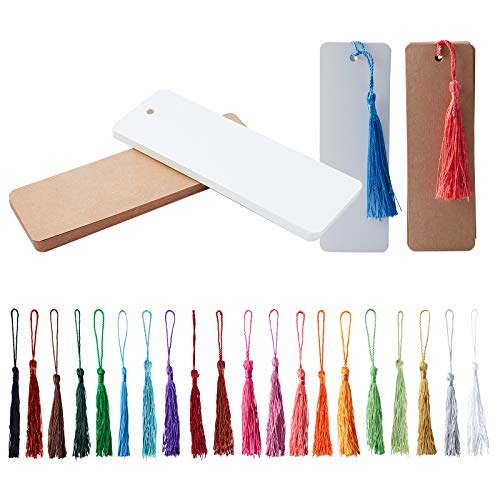 PH PandaHall 40pcs Kraft Paper Blank Cardstock Bookmarks with 80pcs Colorful Tassels for DIY Projects Bookmarks and Gifts Tags (5.5 by 1.8 Inch)