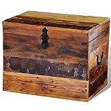 Tidyard Vintage Reclaimed Storage Box, Antique Handmade Treasure Storage Chest Solid Wood