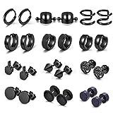 PiercingJ 12 Pairs Silver Black Stud Earrings for Men Women Stainless Steel Huggie Hoop Earrings Cartilage Piercing Jewelry