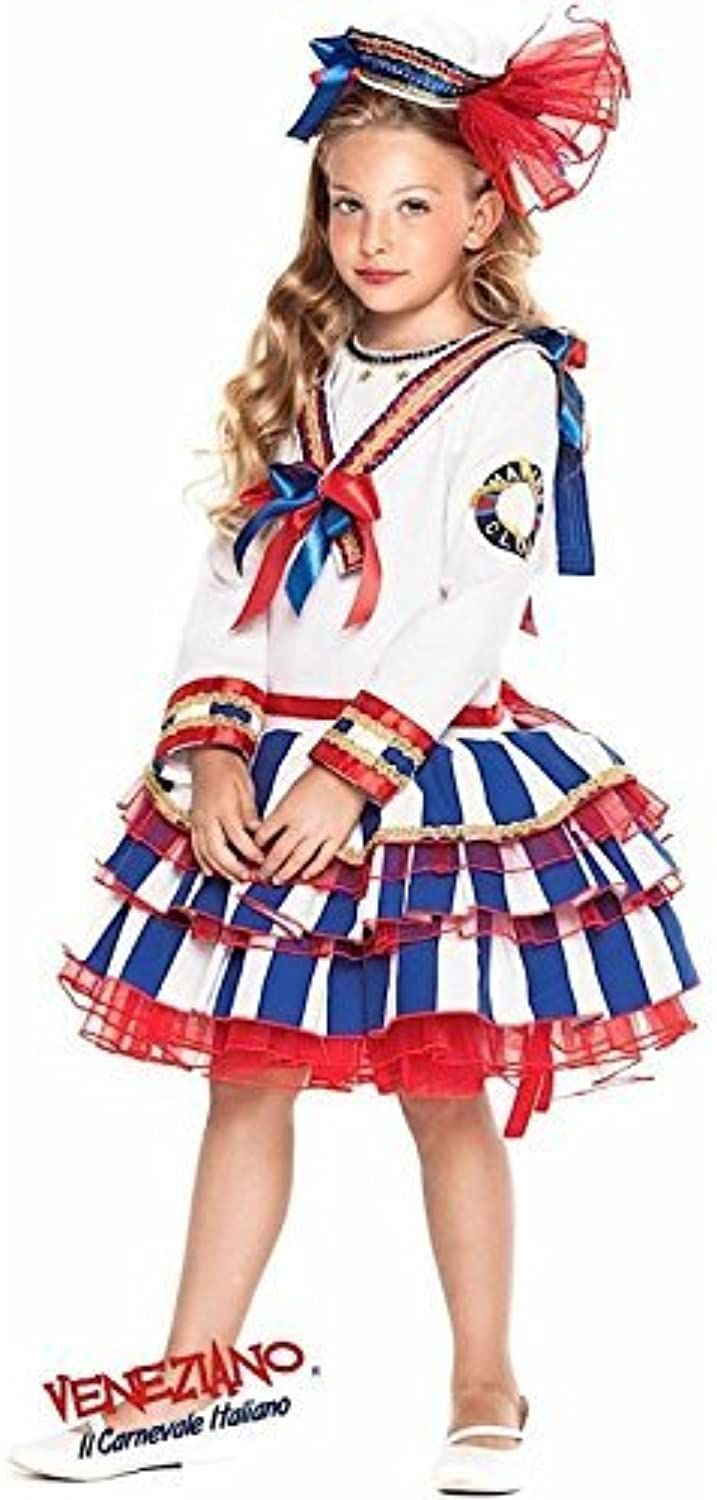 Italian Made Girls Deluxe Naval Sailor Forces Navy Halloween Carnival Festival Fancy Dress Costume Outfit 310 years (8 years)