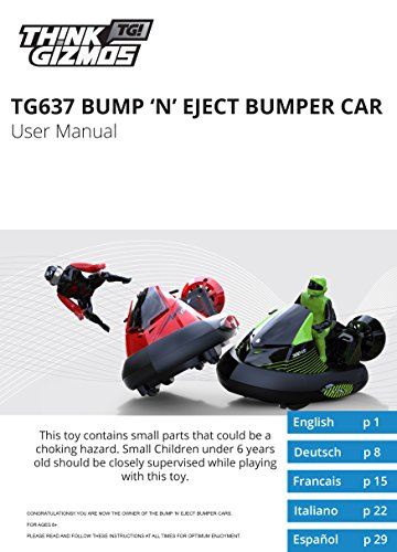 Think Gizmos TG637 -Bump 'n Eject Bumper Cars – Multiplayer 2.4Ghz Remote Control Toy Game for Kids by Think Gizmos