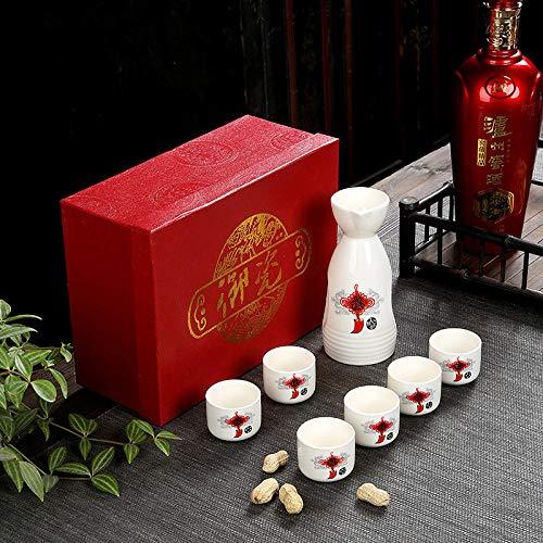 Günstige Wein Set Geschenkbox Set Keramik Flachmann Weißweinglas Spender Eröffnungsveranstaltung Geschenk Werbegeschenk Logo-chinesischer Knoten