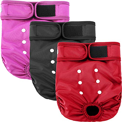 Leekalos Reusable Washable Dog Diapers Female (3 Pack) - Highly Absorbent Doggie Diapers - Size Adjustable Puppy Diapers for Dog Period Panties (Medium,Red,Purple,Black)