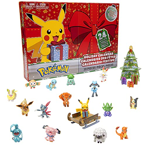 Pokemon 2021 Holiday Advent Calendar for Kids, 24 Gift Pieces - Includes 16 Toy Character Figures & 8 Christmas Accessories - Ages 4+