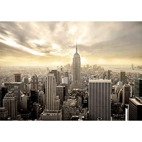 decomonkey Fototapete New York Stadt City 350x256 cm XXL Design Tapete Fototapeten Vlies Tapeten Vliestapete Wandtapete moderne Wand Schlafzimmer Wohnzimmer Wolkenkratzer Panorama