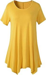 kolila Women Short Sleeves Flare Flowy Swing Tunic Tops for Leggings Flowy Shirt Loose Fit Comfy Flattering T Shirt