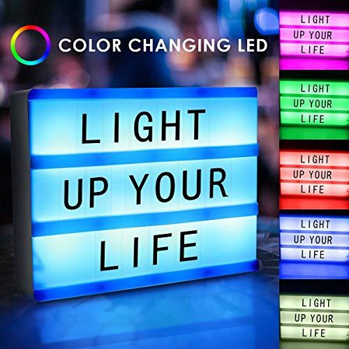 SHOPPERS STOP Cinema Light up Box, A4 kleur veranderen Licht omhoog Sign, LED Cinematic Bericht Brief Licht Sign Box met 96 Letters Nummers en Emojis met Afstandsbediening