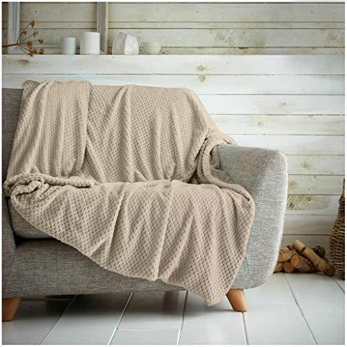 Überwurf mit Waffelwabenmuster, weich, warm, Überwurf für Sofa, Bett, Reise, Tagesdecke, klein, Doppelbett – 150 x 200 cm