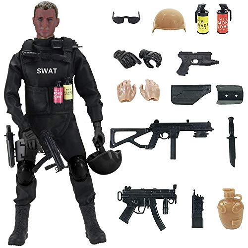 12-Inch Special Forces Military Action Figure Army Man Toy Soldier - 30 Articulation Points and 15 Weapons and Accessories (SWAT)