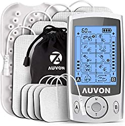 AUVON TENS device, 2 channels TENS EMS stimulation current device with 20 training programs and 8 premium electrode pads for pain relief from kinks on the back, neck and shoulders