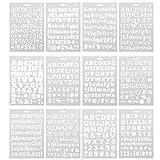 LIOOBO 12個絵画ステンシルアルファベットナンバー記号テンプレートアートdiyステンシルジャーナル (別のフォント)