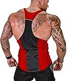 MIZOK Mens Y-Back Tank Tops Gym Bodybuilding Workout Sleeveless Shirts (XL, Red)
