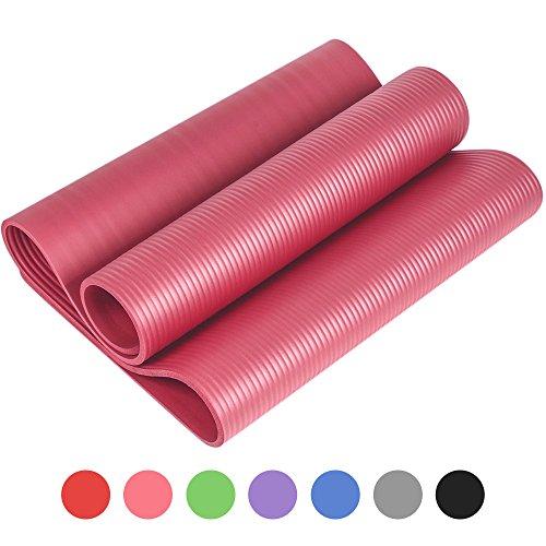 Reehut Tapis D'exercices de Yoga- 12 mm Très épais NBR Haute Densité, pour Pilates, Forme Physique et Entraînement, avec Sangle de Transport(Rose)